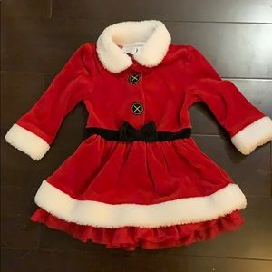 12/18 mo velour baby Claus outfit w/ black tights